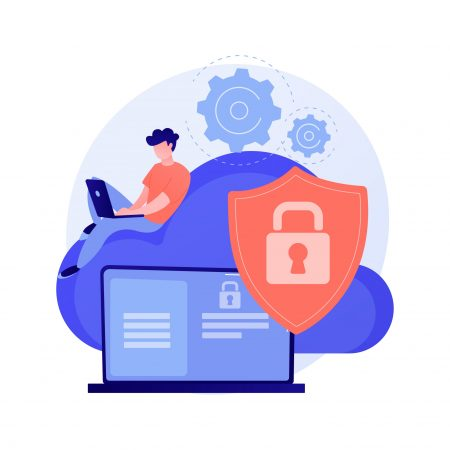 Cloud computing security abstract concept vector illustration.