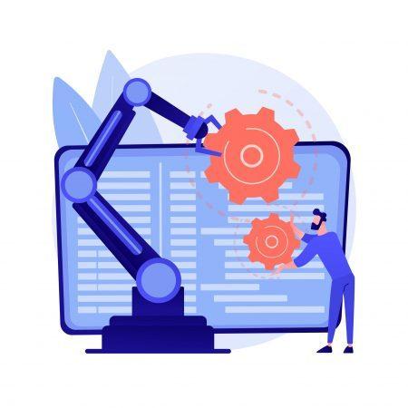 Collaborative robotics abstract concept vector illustration.