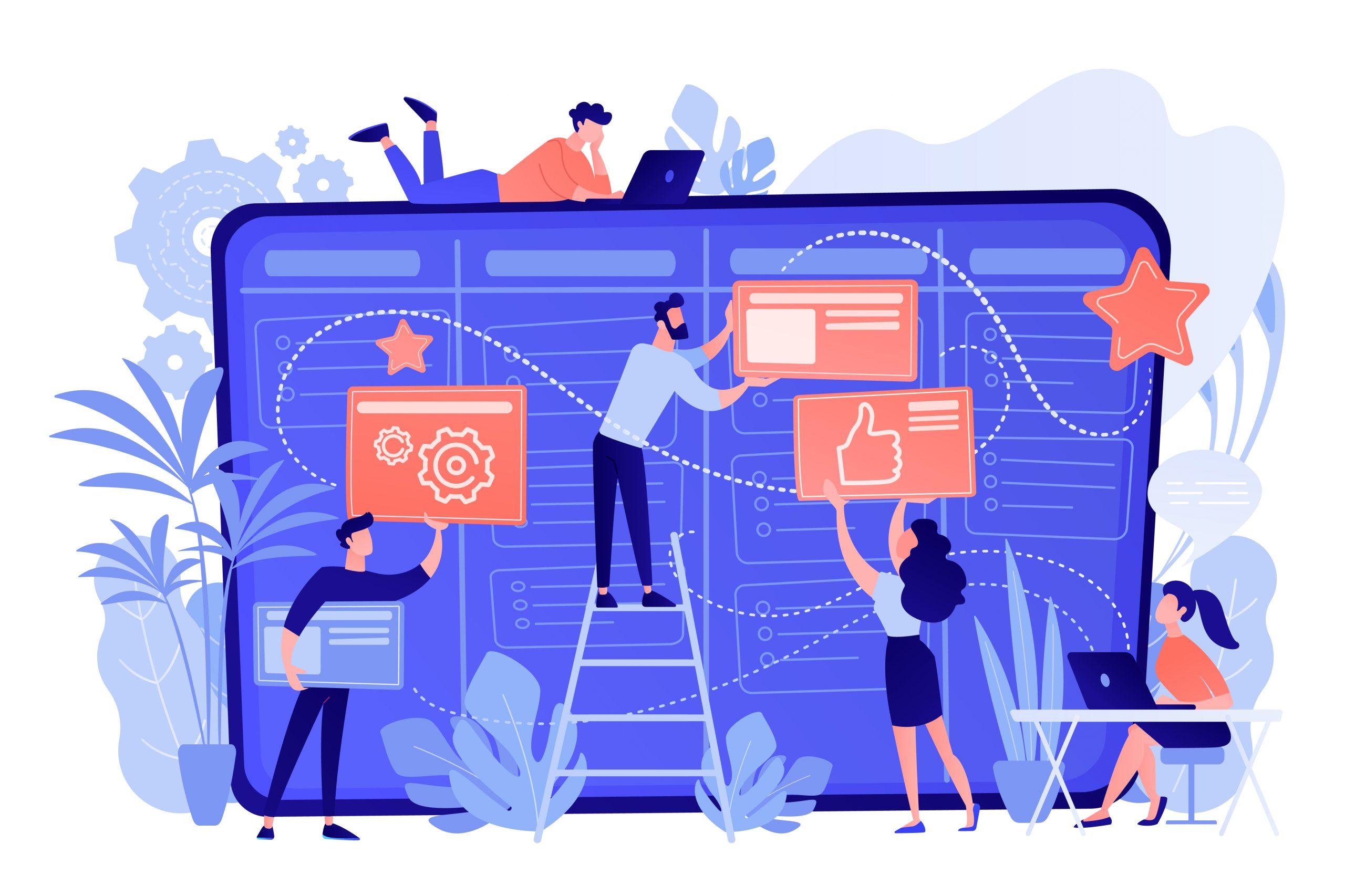 Kanban board concept vector illustration.